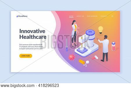 Innovative Healthcare. Isometric Illustration For Website Template With Doctors Developing New Techn