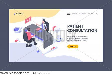 Patient Consultation. Design Of Web Page Offering Information To Learn About Service For Patients To