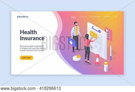Health Insurance. Isometric Landing Page Design With Patient And Medical Insurance Salesman For Prom