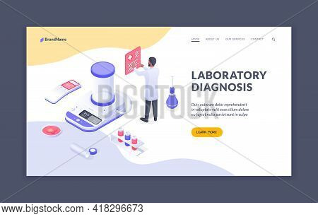 Laboratory Diagnosis. Male Doctor Working In Laboratory With Medical Isometric Icons. Isometric Web
