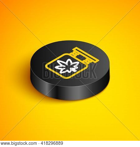 Isometric Line Marijuana And Cannabis Store Icon Isolated On Yellow Background. Equipment And Access
