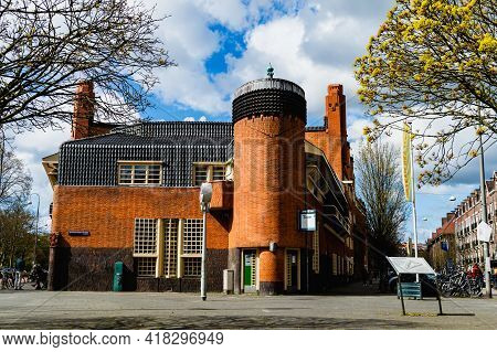 Amsterdam The Netherlands, April 11, 2021: Front Entrance Of Museum Het Schip, Build In The Architec
