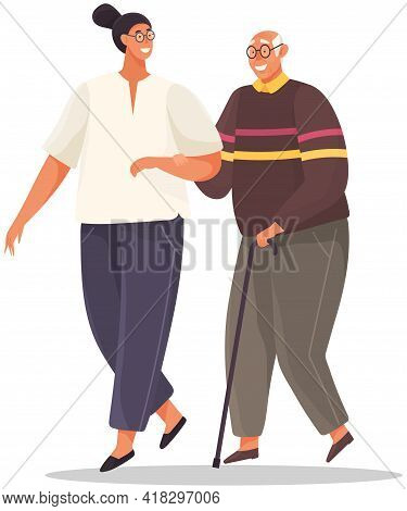Old Man Leans On Stick And Walks With Woman Holding Her Hand. Girl Take Care Of Man From Nursing Hom