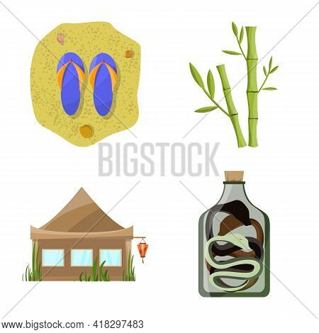 Isolated Object Of Vietnam And Traditional Sign. Collection Of Vietnam And Asia Stock Symbol For Web