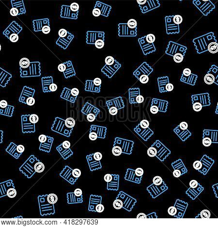 Line Paper Check And Financial Check Icon Isolated Seamless Pattern On Black Background. Paper Print
