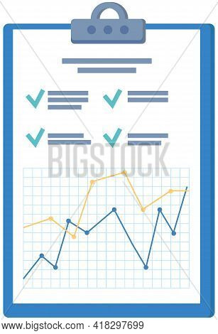 Writing Board With Leaflet On White Background. Folder For Business Meetings, Progress Chart And Dut