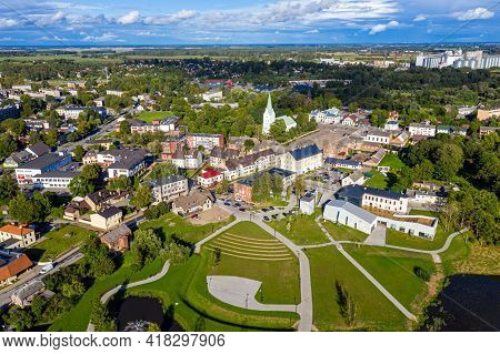 New Well-kept Park For A Walk In Dobele, Latvia, Facilitated Footpath In The City Park, Aerial View