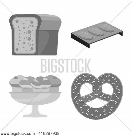 Vector Illustration Of Bakery And Natural Logo. Set Of Bakery And Organic Stock Symbol For Web.