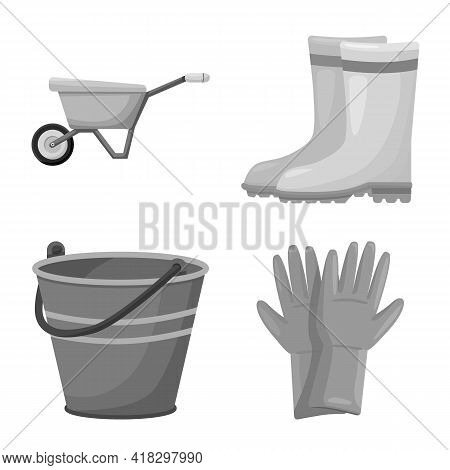 Isolated Object Of Garden And Horticulture Icon. Set Of Garden And Farm Vector Icon For Stock.