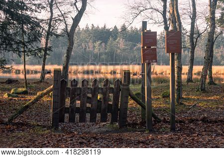 Entrance To A Grazing Area Of A National Park In Gieten-borger, The Netherlands. Sign 1: Grazing Are