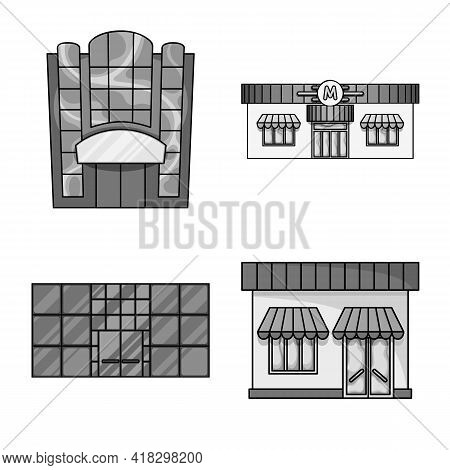 Vector Illustration Of Supermarket And Building Symbol. Collection Of Supermarket And Business Vecto