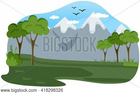 Mountain And Coniferous Forest Flat Color Vector Illustration. Green Hill And Tall Trees. Wild Summe