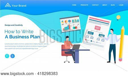 How To Write A Business Plan Web Page Layout. Businessman Standing Near Circuit Plan And Confers Wit