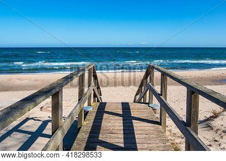 Bridge On The Baltic Sea Coast In Kuehlungsborn, Germany.