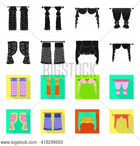 Isolated Object Of Curtains And Drapes Logo. Set Of Curtains And Blinds Vector Icon For Stock.