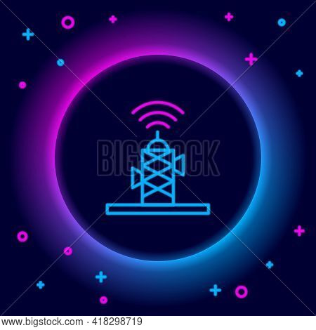 Glowing Neon Line Wireless Antenna Icon Isolated On Black Background. Technology And Network Signal
