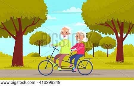 Family Walking In City Park And Riding Pair Bike Together. Elderly People On Funny Walk Outdoors. Ch