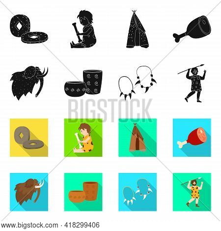 Vector Illustration Of Evolution And Neolithic Icon. Collection Of Evolution And Primeval Stock Symb