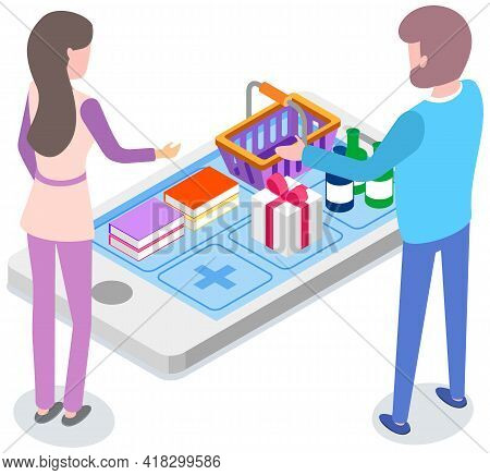 Sale Outlet Isometric Composition With Gadget And Packages Vector Illustration. Special Offer Of Goo