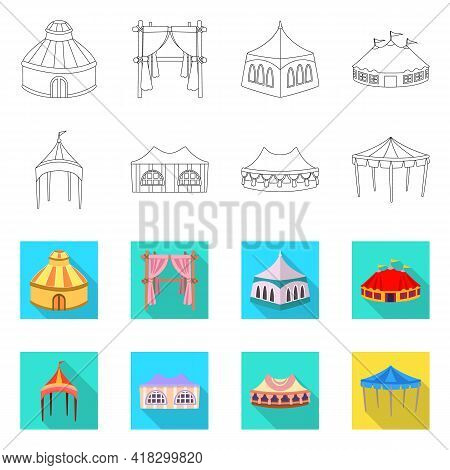 Isolated Object Of Roof And Folding Logo. Collection Of Roof And Architecture Stock Symbol For Web.