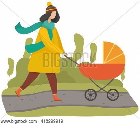 Woman Strolling With Baby In Autumn Park. Mother Taking Care About Her Child In Orange Carriage. Wal