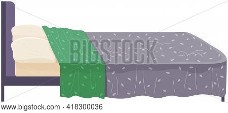 Bed Covered With Bedspreads Isolated On White Side View. Bedroom Interior Design Flat Vector Illustr