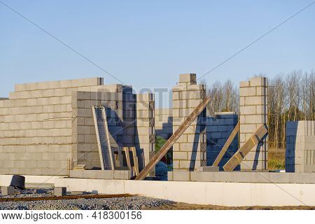 Construction Site Of A Private House. Unfinished House Made Of Expanded Clay Concrete Blocks. Buildi