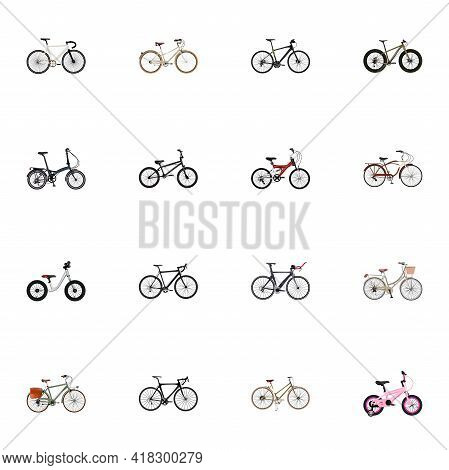 Set Of Bicycle Realistic Symbols With Triathlon Bike, Track Cycle, Fitness Wheel And Other Icons For
