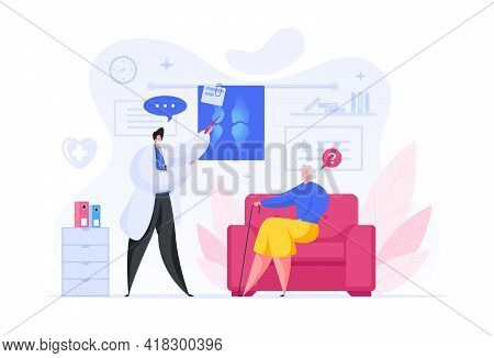 Vector Illustration Of Male Medical Practitioner Pointing At X Ray Scan Of Bones And Speaking With S