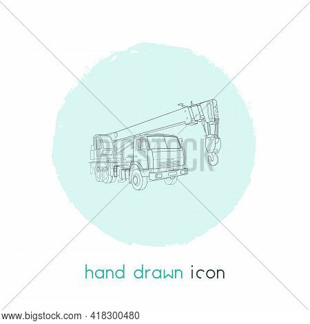 Crane Truck Icon Line Element. Vector Illustration Of Crane Truck Icon Line Isolated On Clean Backgr