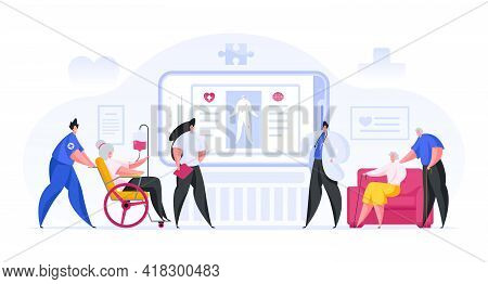 Colorful Vector Illustration Of Male And Female Medical Practitioners Examining Human Body Data On S