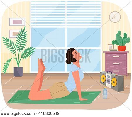Young Girl Working Out Doing Exercises At Home. Girl Doing Yoga On Mat. Sportswoman Stretches In Apa