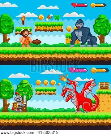 Pixelated Game Background With Warrior Caveman Holding Wooden Club Fighting Against Big Gorilla. Kni
