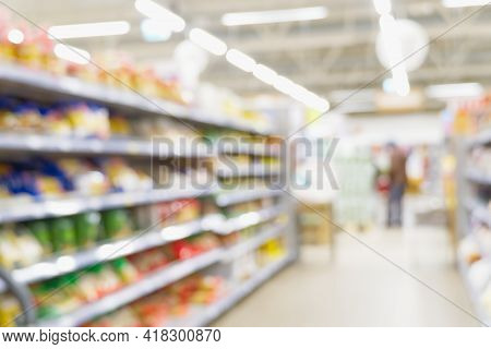 Blurred Background. Store Blur Abstract Background With Bokeh. Grocery Supermarket Blurred Backgroun