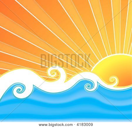 poster of Vector illustration of a swirly retro summer background with beautiful sun rays curly mesh water and wavy design in the middle.