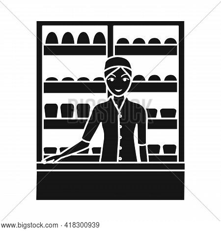 Vector Design Of Baker And Girl Sign. Collection Of Baker And Rack Stock Symbol For Web.