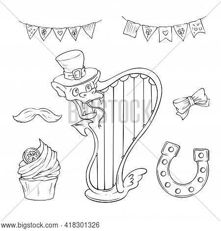 Saint Patrick S Day Holiday Set, Cute Cartoon Elements. Vector Illustration