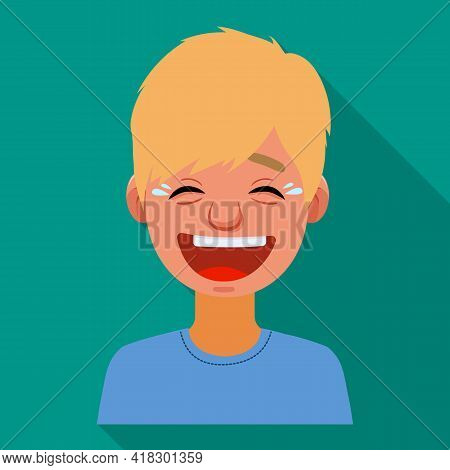 Vector Design Of Guy And Laugh Sign. Set Of Guy And Emotion Stock Symbol For Web.