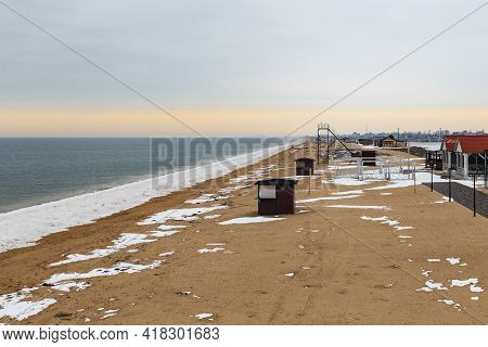Schaslyvtseve, Ukraine - February 20, 2021: This Is The Beach Coast Of The Azov Resort In Winter.