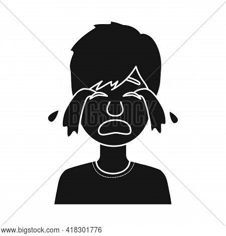 Vector Design Of Guy And Cry Sign. Set Of Guy And Tears Stock Symbol For Web.