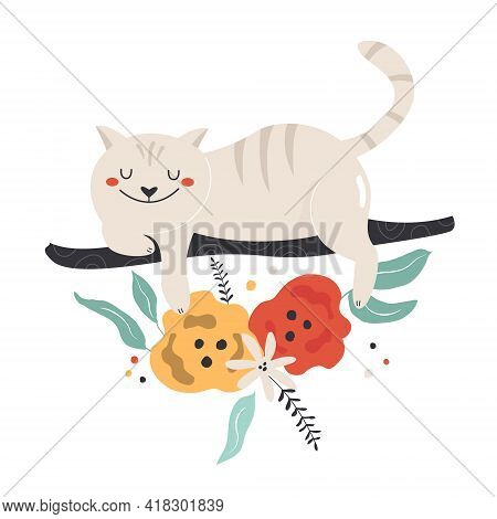 Colorful Composition With Cheshire Cat And Floral Ornament.