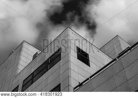 Office Building Shot From Below Shot In Black And White
