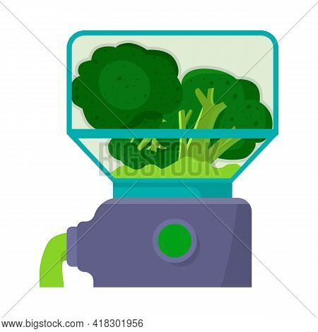 Isolated Object Of Broccoli And Blender Icon. Collection Of Broccoli And Equipment Stock Symbol For