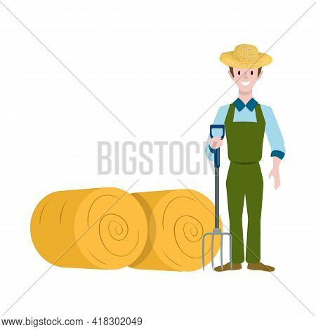 Vector Illustration Of Farmer And Woman Icon. Collection Of Farmer And Rural Stock Vector Illustrati