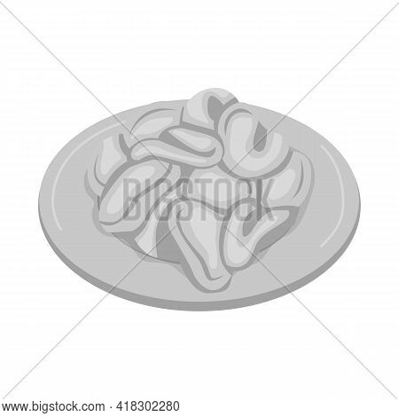 Isolated Object Of Bowl And Chip Symbol. Web Element Of Bowl And Crunchy Vector Icon For Stock.