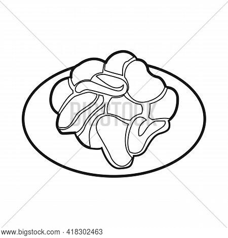 Isolated Object Of Bowl And Chip Logo. Graphic Of Bowl And Crunchy Stock Vector Illustration.