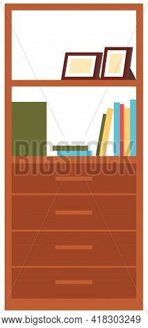 Storage Furniture. Chests Of Drawers Vector Illustration. Wooden Commodes With Boxes Isolated On Whi