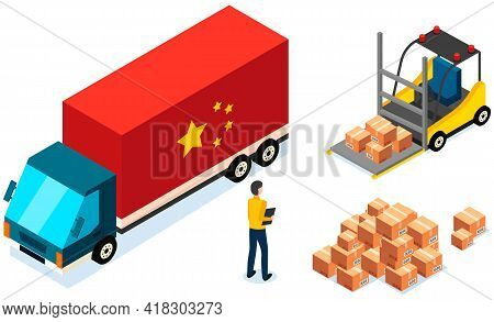 Order For Delivery To Customer. Online Selling, E-commerce, Worldwide Shipping Concept. Man Controls