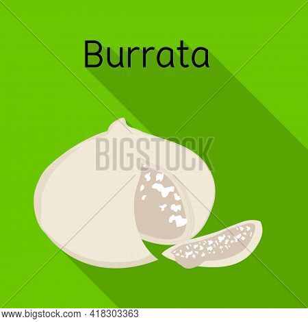 Vector Design Of Cheese And Burrata Symbol. Web Element Of Cheese And Piece Stock Symbol For Web.