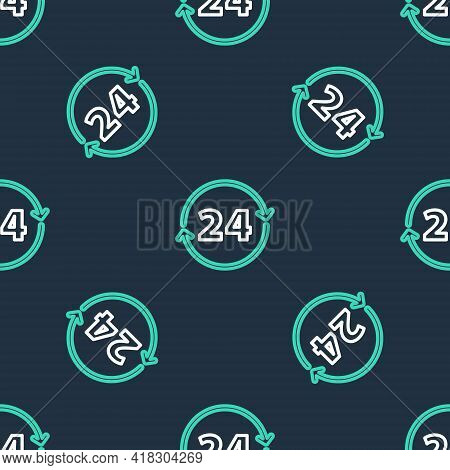 Line Clock 24 Hours Icon Isolated Seamless Pattern On Black Background. All Day Cyclic Icon. 24 Hour
